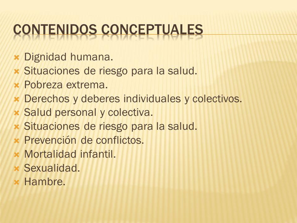 Dignidad humana. Situaciones de riesgo para la salud. Pobreza extrema. Derechos y deberes individuales y colectivos. Salud personal y colectiva. Situa