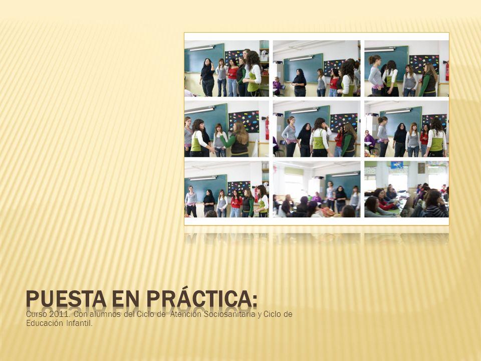 Curso 2011. Con alumnos del Ciclo de Atención Sociosanitaria y Ciclo de Educación Infantil.