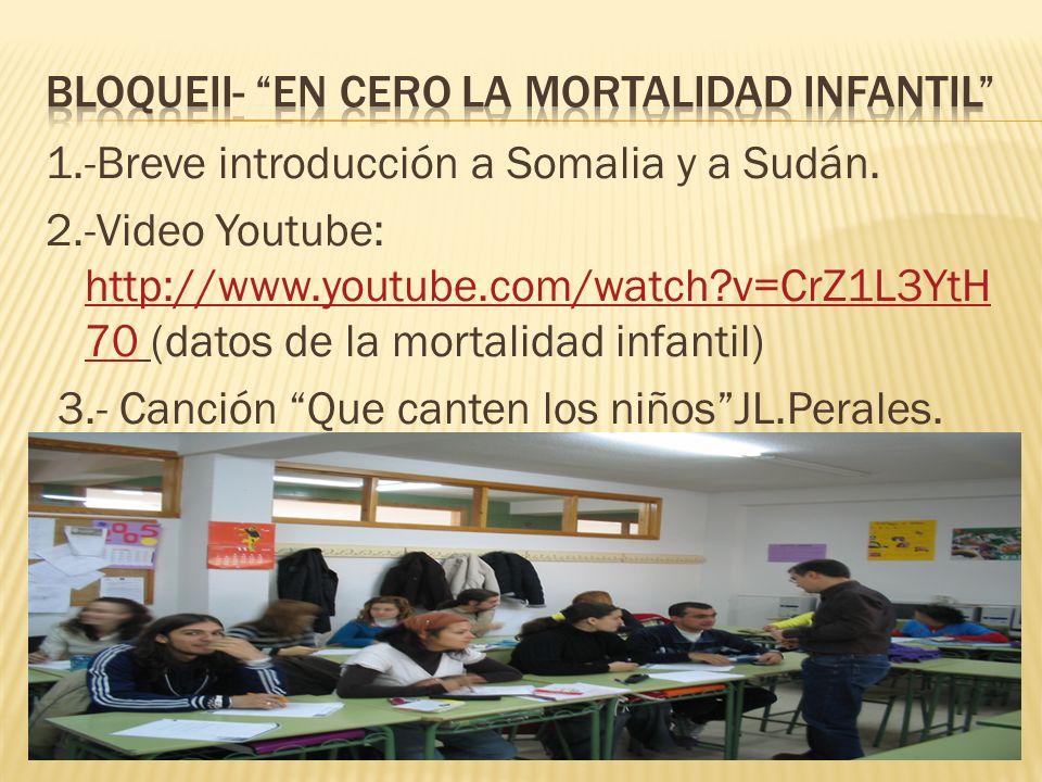 1.-Breve introducción a Somalia y a Sudán. 2.-Video Youtube: http://www.youtube.com/watch?v=CrZ1L3YtH 70 (datos de la mortalidad infantil) http://www.