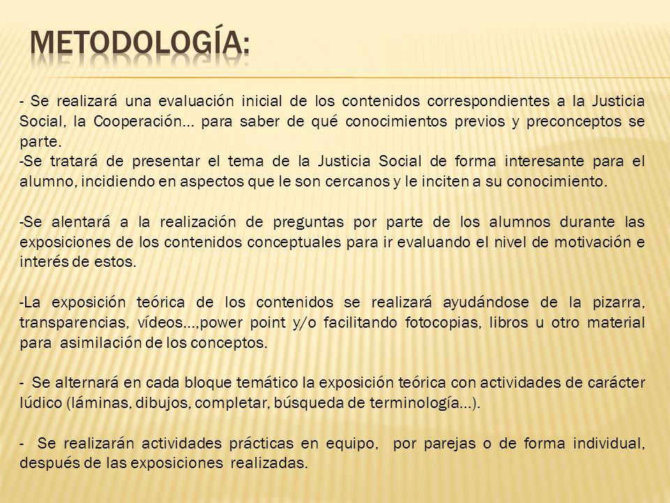 - Se realizará una evaluación inicial de los contenidos correspondientes a la Justicia Social, la Cooperación… para saber de qué conocimientos previos