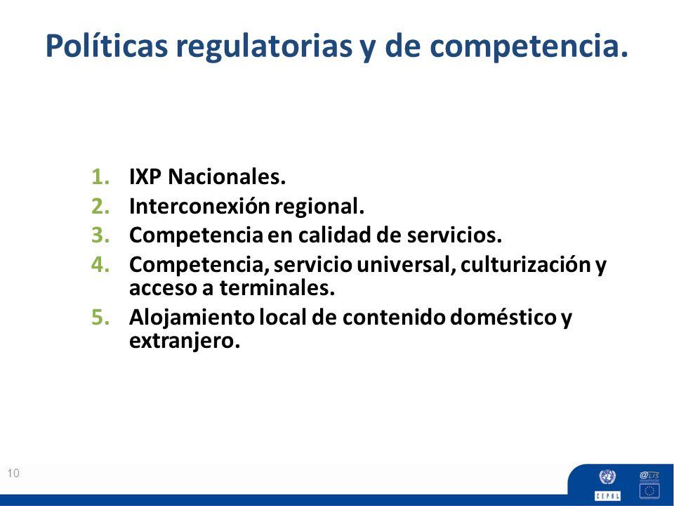 Políticas regulatorias y de competencia. 10 1.IXP Nacionales. 2.Interconexión regional. 3.Competencia en calidad de servicios. 4.Competencia, servicio