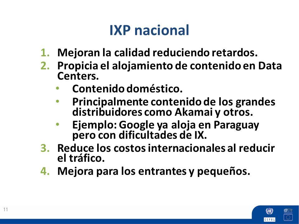 IXP nacional 11 1.Mejoran la calidad reduciendo retardos. 2.Propicia el alojamiento de contenido en Data Centers. Contenido doméstico. Principalmente