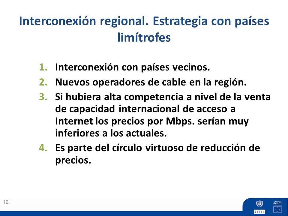 Interconexión regional. Estrategia con países limítrofes 12 1.Interconexión con países vecinos. 2.Nuevos operadores de cable en la región. 3.Si hubier
