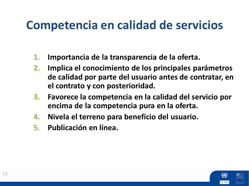 Competencia en calidad de servicios 13 1.Importancia de la transparencia de la oferta. 2.Implica el conocimiento de los principales parámetros de cali
