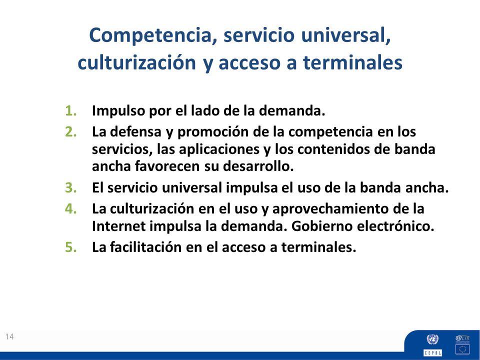 Competencia, servicio universal, culturización y acceso a terminales 14 1.Impulso por el lado de la demanda. 2.La defensa y promoción de la competenci