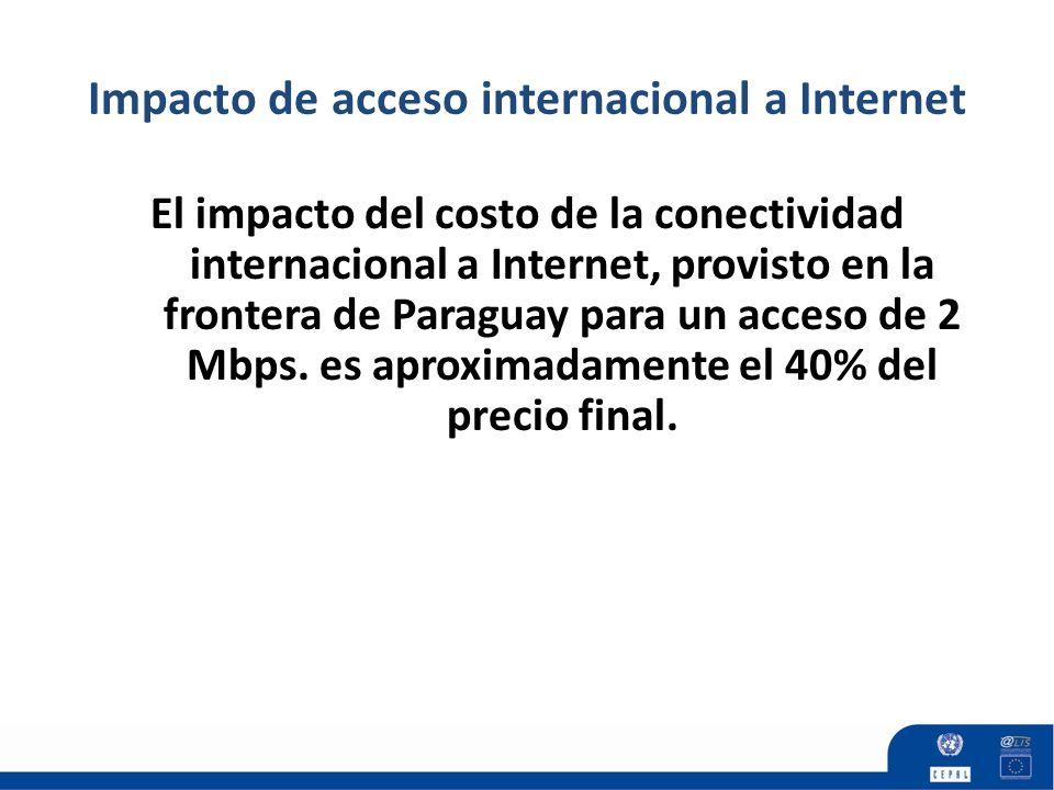 Impacto de acceso internacional a Internet El impacto del costo de la conectividad internacional a Internet, provisto en la frontera de Paraguay para