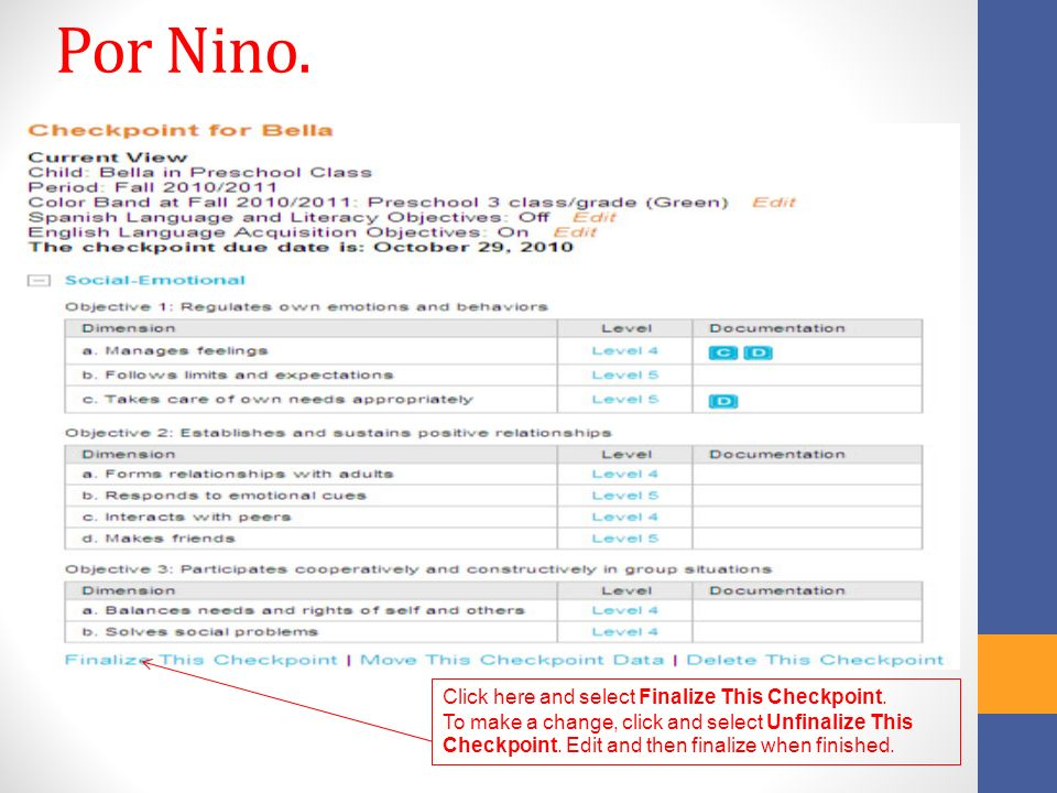 Por Nino. Click here and select Finalize This Checkpoint.