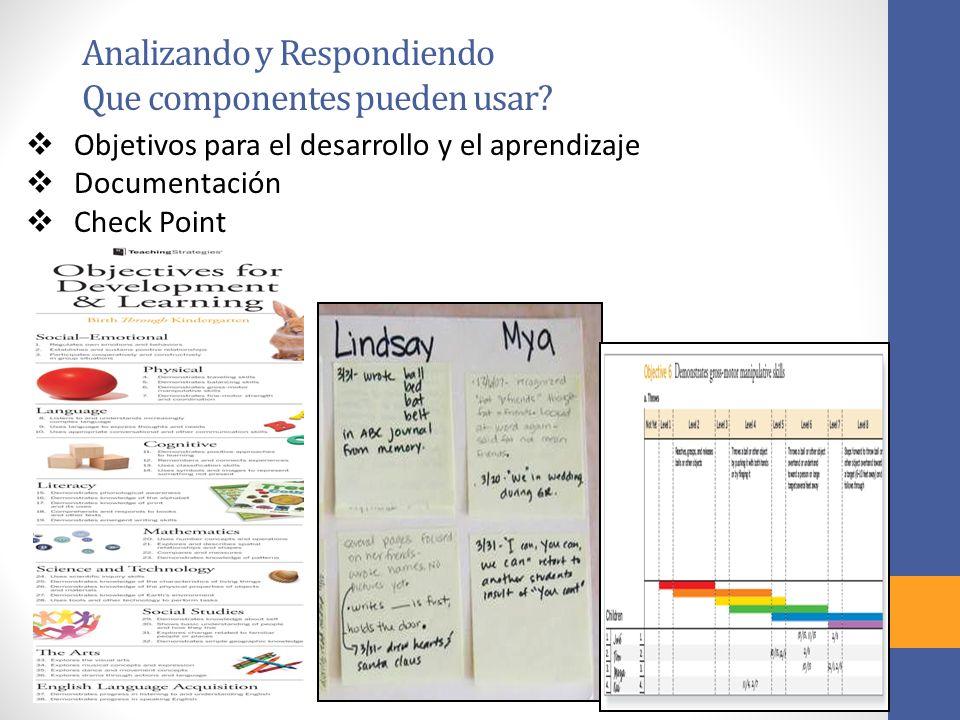 Analizando y Respondiendo Que componentes pueden usar? Objetivos para el desarrollo y el aprendizaje Documentación Check Point