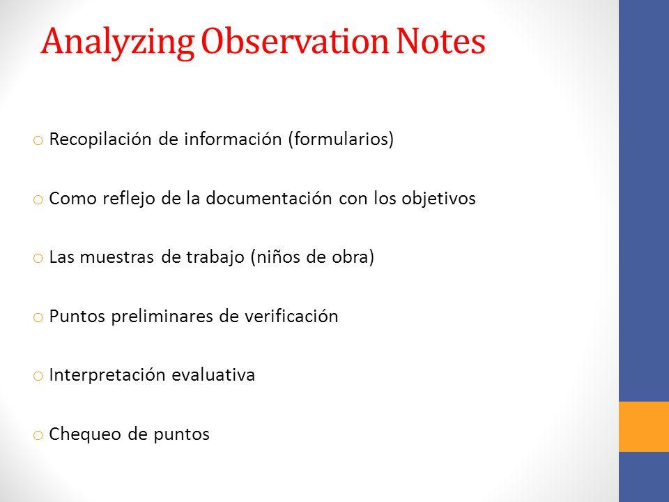 Analyzing Observation Notes o Recopilación de información (formularios) o Como reflejo de la documentación con los objetivos o Las muestras de trabajo (niños de obra) o Puntos preliminares de verificación o Interpretación evaluativa o Chequeo de puntos