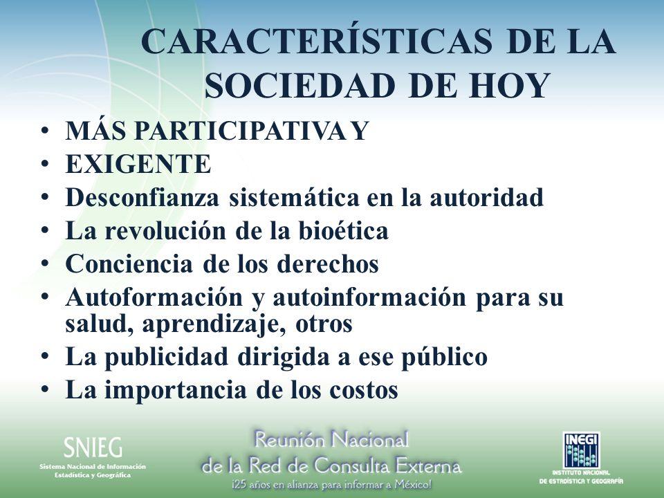 CARACTERÍSTICAS DE LA SOCIEDAD DE HOY MÁS PARTICIPATIVA Y EXIGENTE Desconfianza sistemática en la autoridad La revolución de la bioética Conciencia de