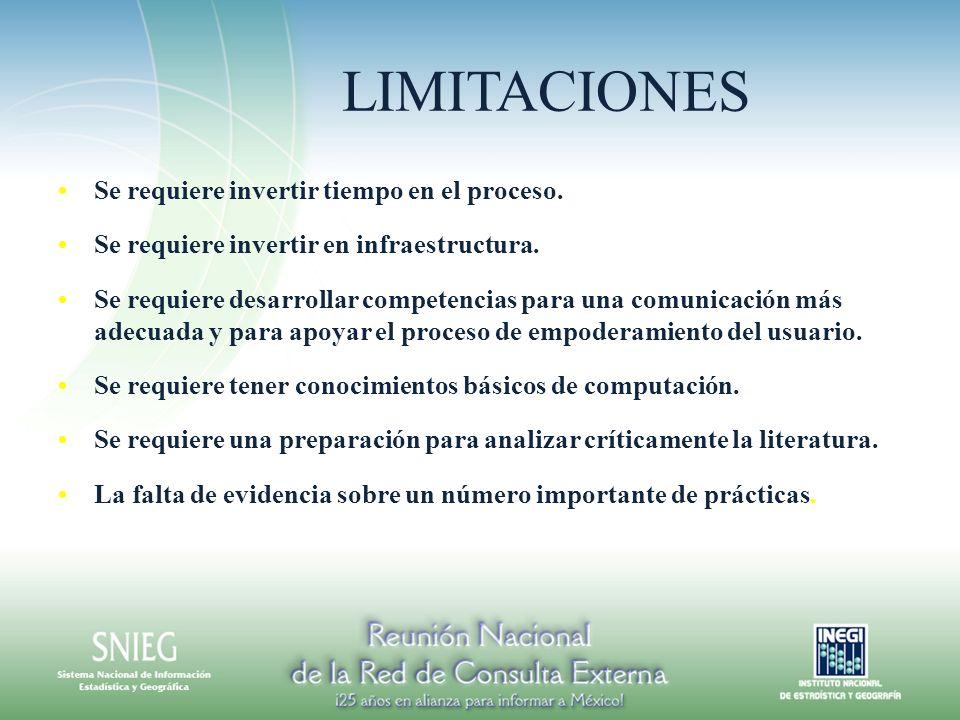 LIMITACIONES Se requiere invertir tiempo en el proceso. Se requiere invertir en infraestructura. Se requiere desarrollar competencias para una comunic