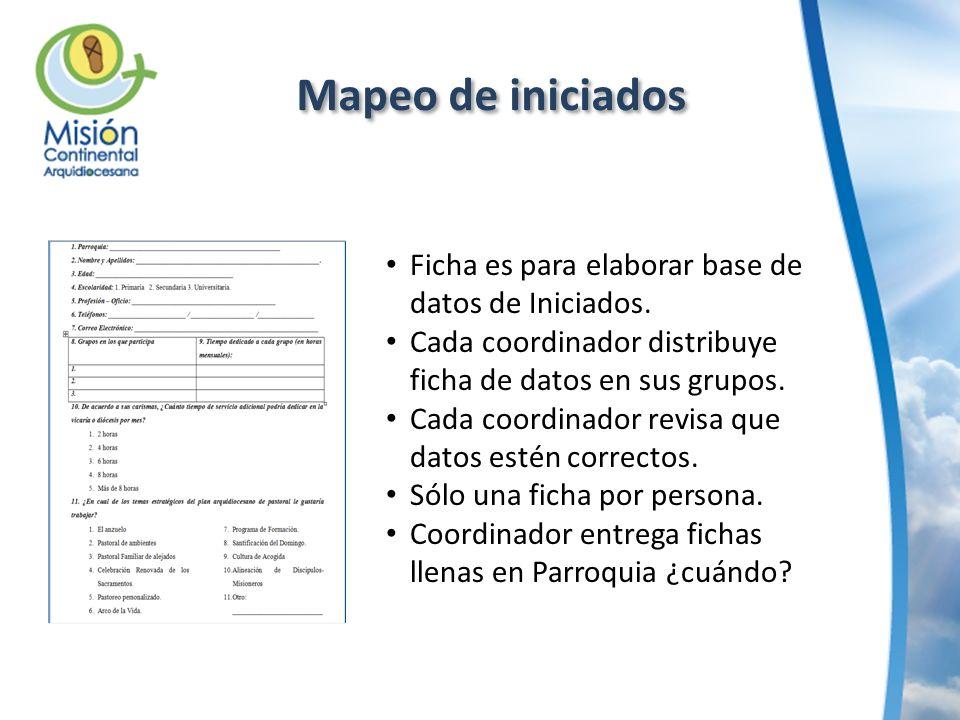 Mapeo de iniciados Ficha es para elaborar base de datos de Iniciados. Cada coordinador distribuye ficha de datos en sus grupos. Cada coordinador revis