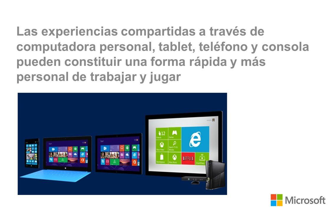 Las experiencias compartidas a través de computadora personal, tablet, teléfono y consola pueden constituir una forma rápida y más personal de trabajar y jugar