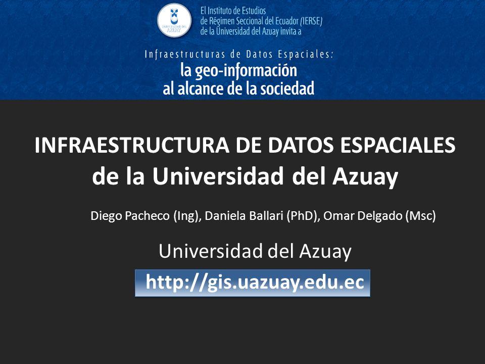 INFRAESTRUCTURA DE DATOS ESPACIALES de la Universidad del Azuay Universidad del Azuay http://gis.uazuay.edu.ec Diego Pacheco (Ing), Daniela Ballari (P