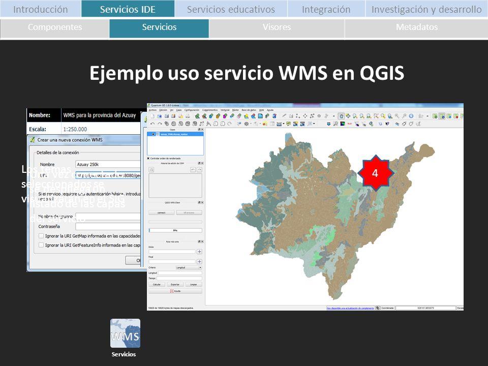 1 Tomamos un servicio de nuestro listado 2 Para este caso usamos Quantum Gis para gestionar la conexión WMS 3 Una vez conectado se despliega un listad