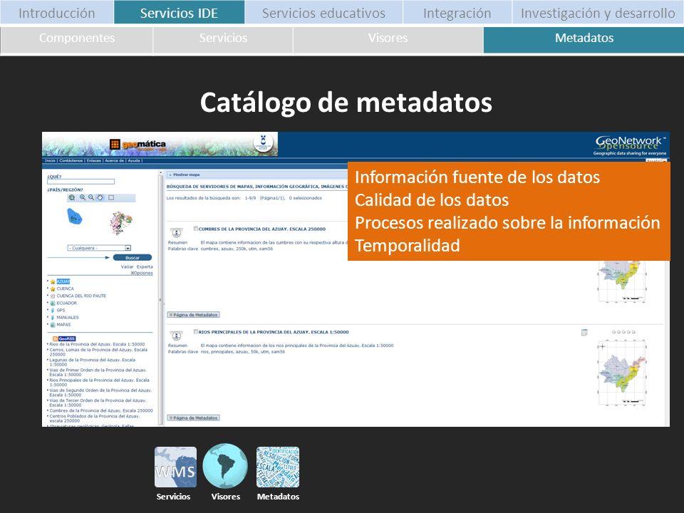 Información fuente de los datos Calidad de los datos Procesos realizado sobre la información Temporalidad ComponentesServiciosVisoresMetadatos Introdu