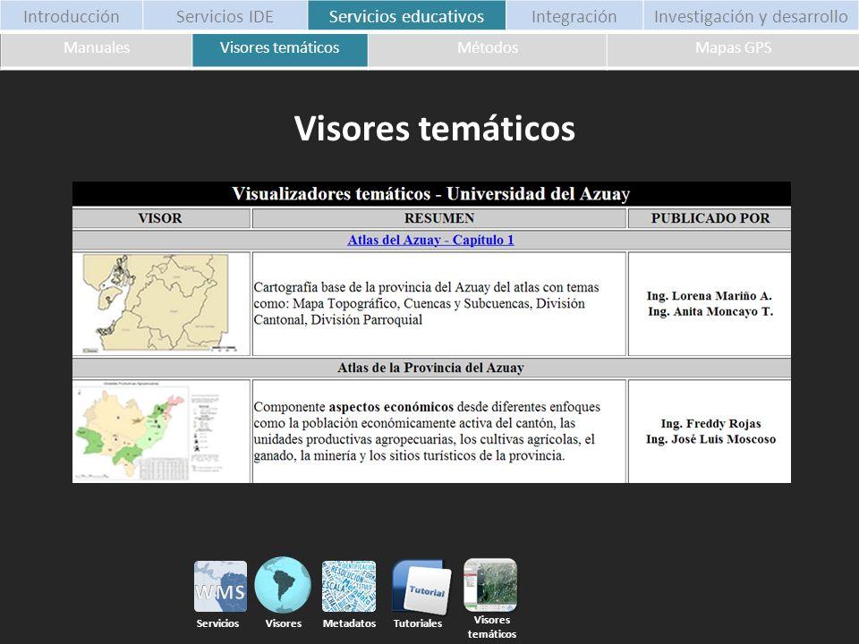 ManualesVisores temáticosMétodosMapas GPS Visores temáticos Mapas GPS Foros Tutoriales Servicios Visores Metadatos IntroducciónServicios IDEServicios