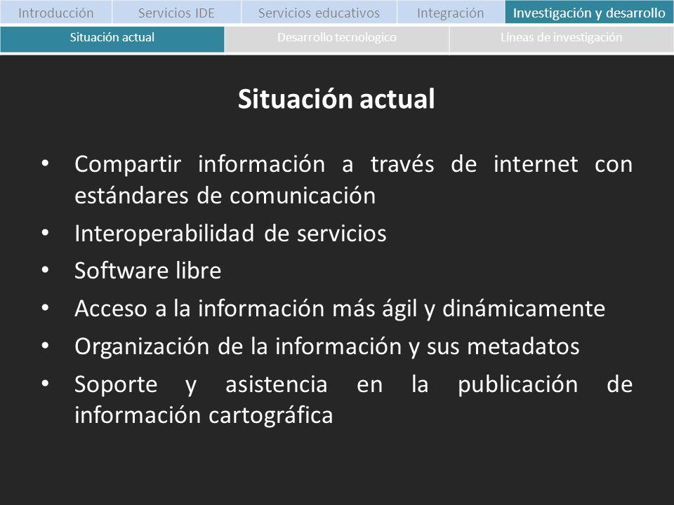 Situación actualDesarrollo tecnologicoLíneas de investigación Compartir información a través de internet con estándares de comunicación Interoperabili