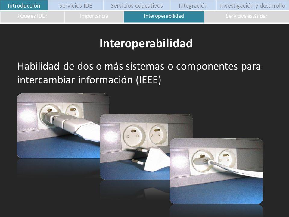 Habilidad de dos o más sistemas o componentes para intercambiar información (IEEE) IntroducciónServicios IDEServicios educativosIntegraciónInvestigaci