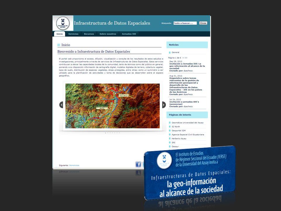 Visor de mapas (S.N.I) Dentro del visor se encuentra publicado información a escalas: 1:5.000, 1:50.000 y 1.250.000 Información que comparte la IDE de la universidad al Sistema Nacional de Información IntroducciónServicios IDEServicios educativosIntegraciónInvestigación y desarrollo