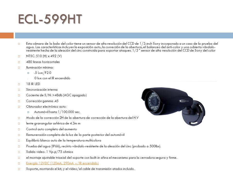 ECL-599HT Esta cámara de la bala del color tiene un sensor de alta resolución del CCD de 1/3-inch Sony incorporado a un caso de la prueba del agua.