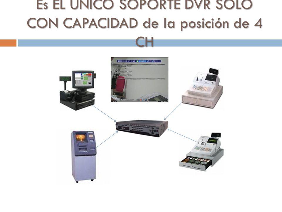 Es EL ÚNICO SOPORTE DVR SOLO CON CAPACIDAD de la posición de 4 CH