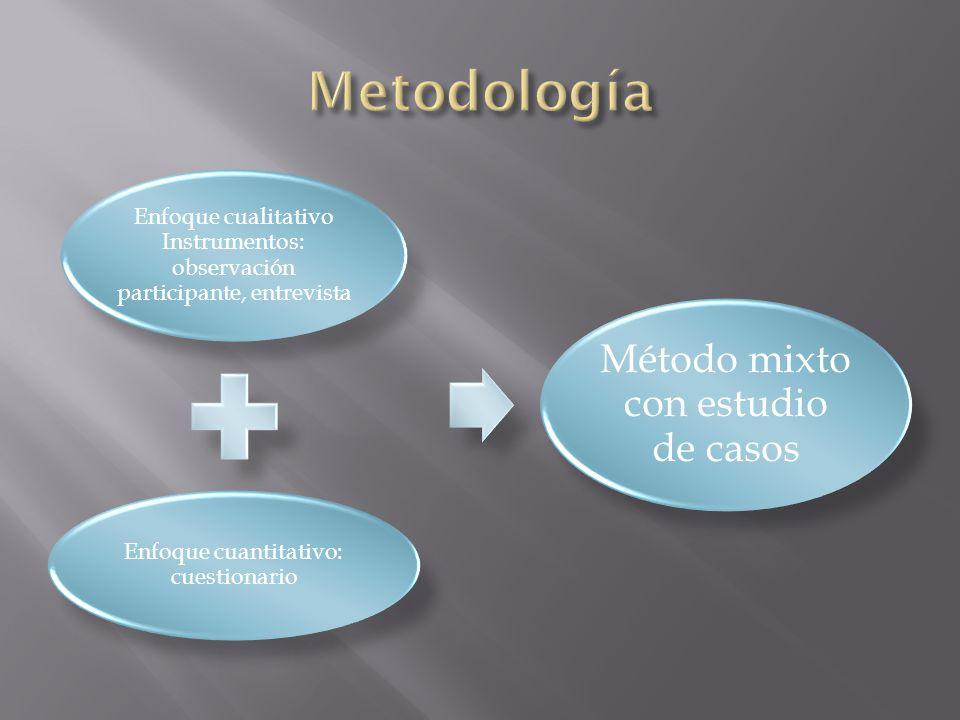 Enfoque cualitativo Instrumentos: observación participante, entrevista Enfoque cuantitativo: cuestionario Método mixto con estudio de casos