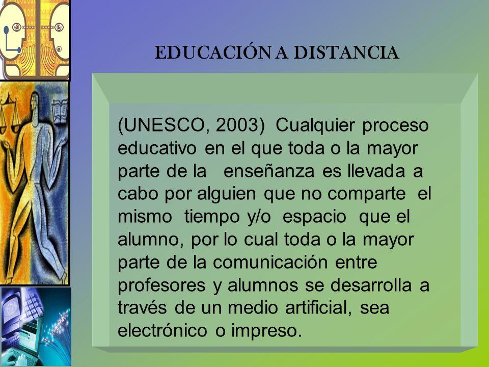 (UNESCO, 2003) Cualquier proceso educativo en el que toda o la mayor parte de la enseñanza es llevada a cabo por alguien que no comparte el mismo tiem