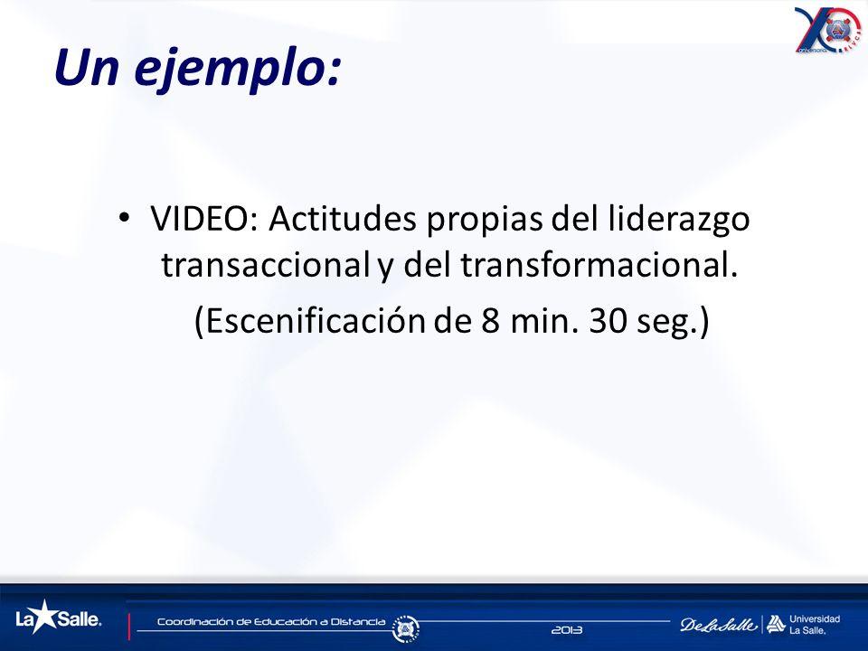 Un ejemplo: VIDEO: Actitudes propias del liderazgo transaccional y del transformacional. (Escenificación de 8 min. 30 seg.)