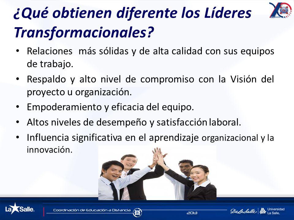 ¿Qué obtienen diferente los Líderes Transformacionales? Relaciones más sólidas y de alta calidad con sus equipos de trabajo. Respaldo y alto nivel de