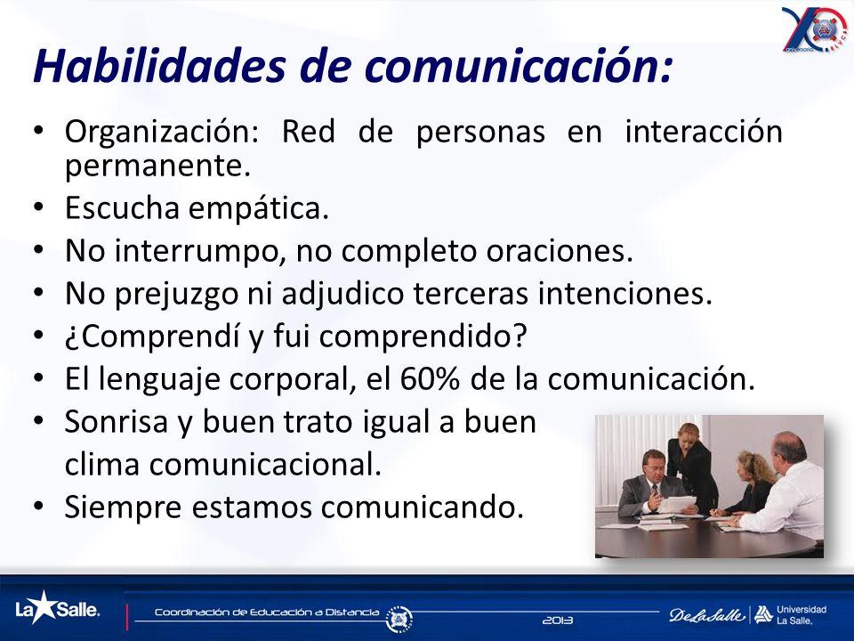 Habilidades de comunicación: Organización: Red de personas en interacción permanente. Escucha empática. No interrumpo, no completo oraciones. No preju