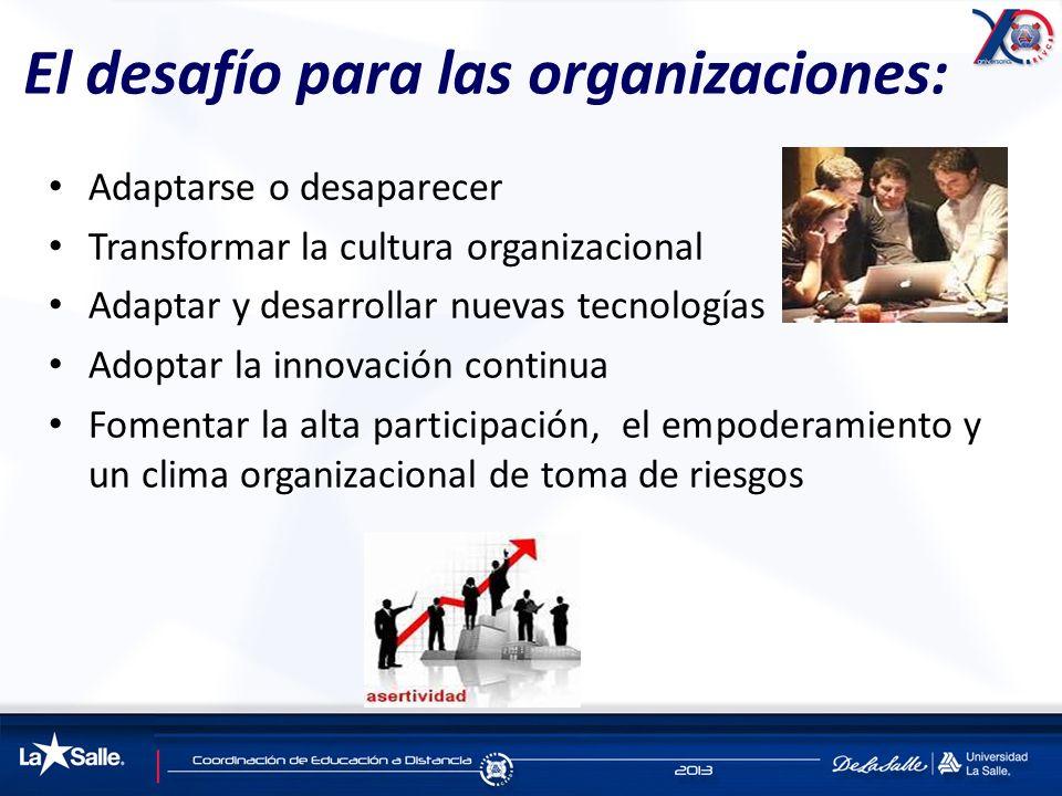El desafío para las organizaciones: Adaptarse o desaparecer Transformar la cultura organizacional Adaptar y desarrollar nuevas tecnologías Adoptar la