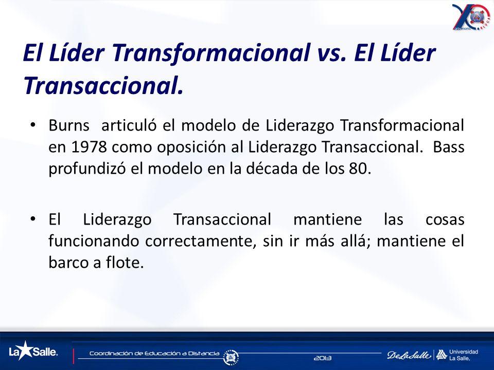 El Líder Transformacional vs. El Líder Transaccional. Burns articuló el modelo de Liderazgo Transformacional en 1978 como oposición al Liderazgo Trans