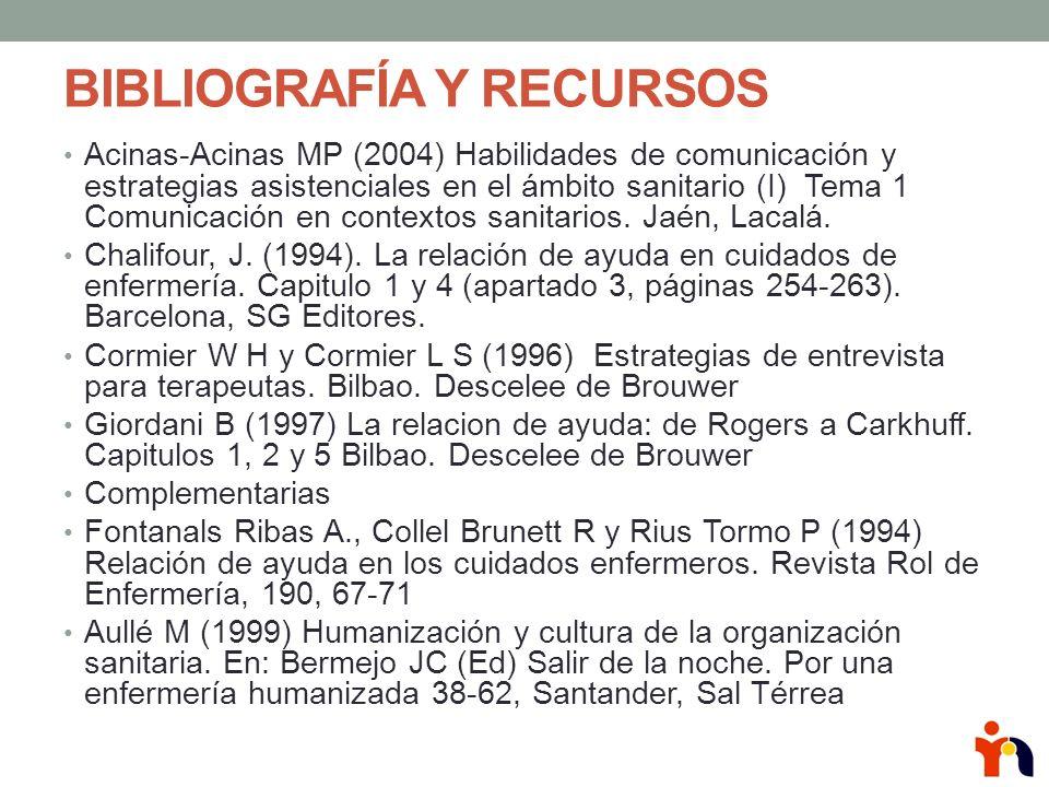 BIBLIOGRAFÍA Y RECURSOS Acinas-Acinas MP (2004) Habilidades de comunicación y estrategias asistenciales en el ámbito sanitario (I) Tema 1 Comunicación