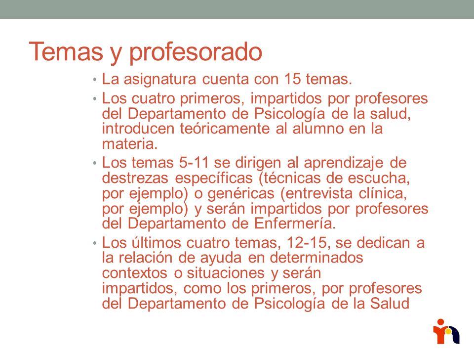Temas y profesorado La asignatura cuenta con 15 temas. Los cuatro primeros, impartidos por profesores del Departamento de Psicología de la salud, intr