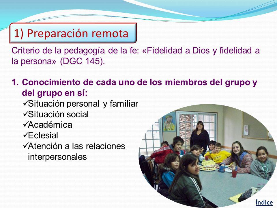 Criterio de la pedagogía de la fe: «Fidelidad a Dios y fidelidad a la persona» (DGC 145). 1.Conocimiento de cada uno de los miembros del grupo y del g