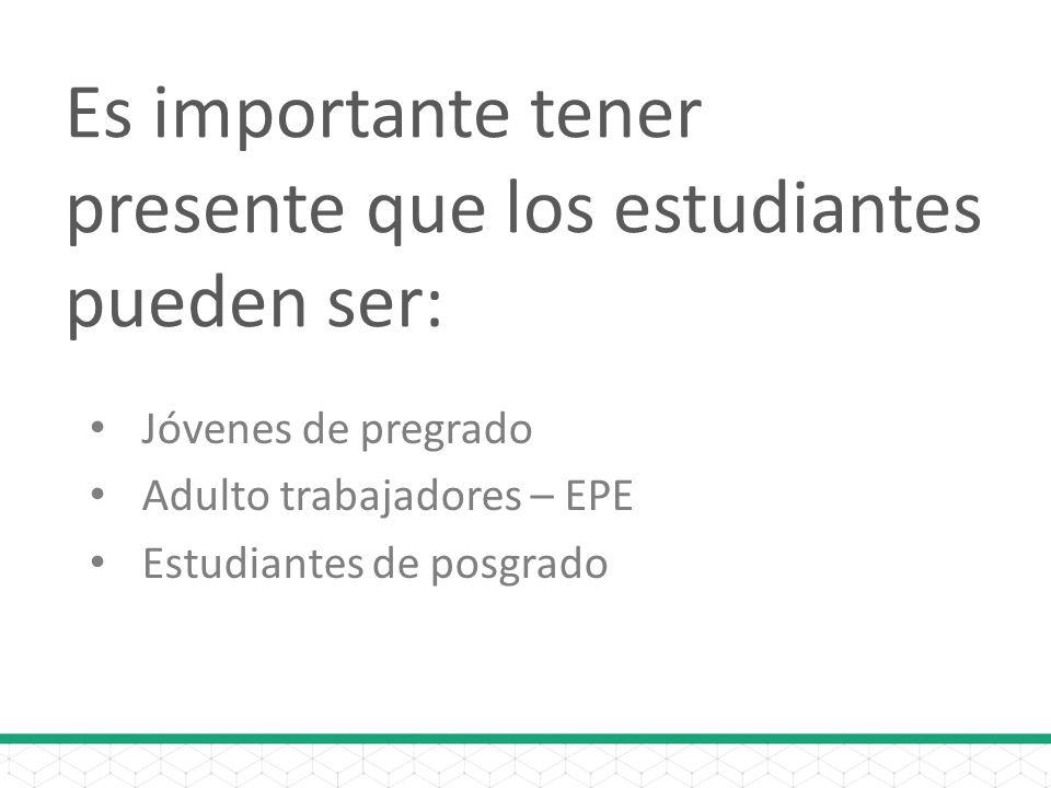 Es importante tener presente que los estudiantes pueden ser: Jóvenes de pregrado Adulto trabajadores – EPE Estudiantes de posgrado