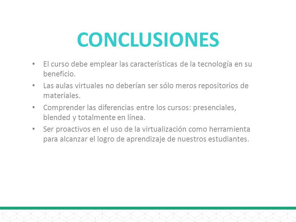 CONCLUSIONES El curso debe emplear las características de la tecnología en su beneficio.