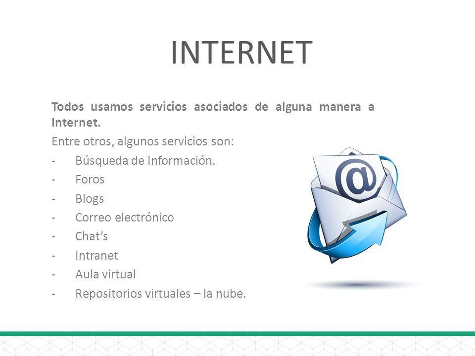 INTERNET Todos usamos servicios asociados de alguna manera a Internet. Entre otros, algunos servicios son: -Búsqueda de Información. -Foros -Blogs -Co