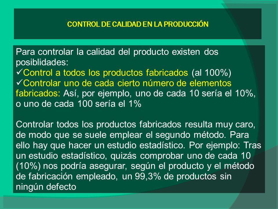 CONTROL DE CALIDAD EN LA PRODUCCIÓN Para controlar la calidad del producto existen dos posiblidades: Control a todos los productos fabricados (al 100%