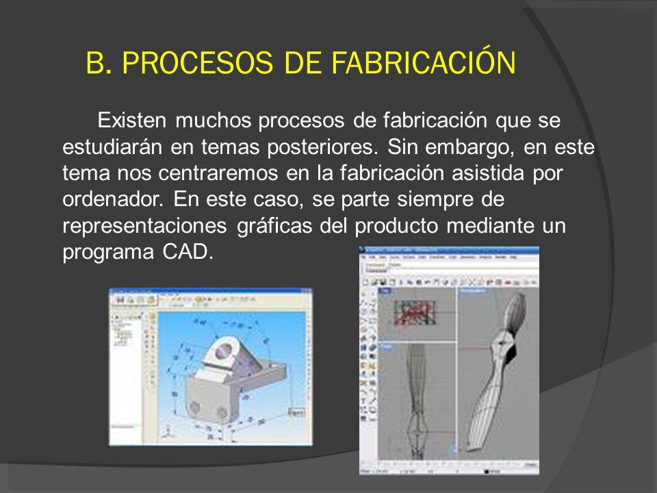 B. PROCESOS DE FABRICACIÓN Existen muchos procesos de fabricación que se estudiarán en temas posteriores. Sin embargo, en este tema nos centraremos en