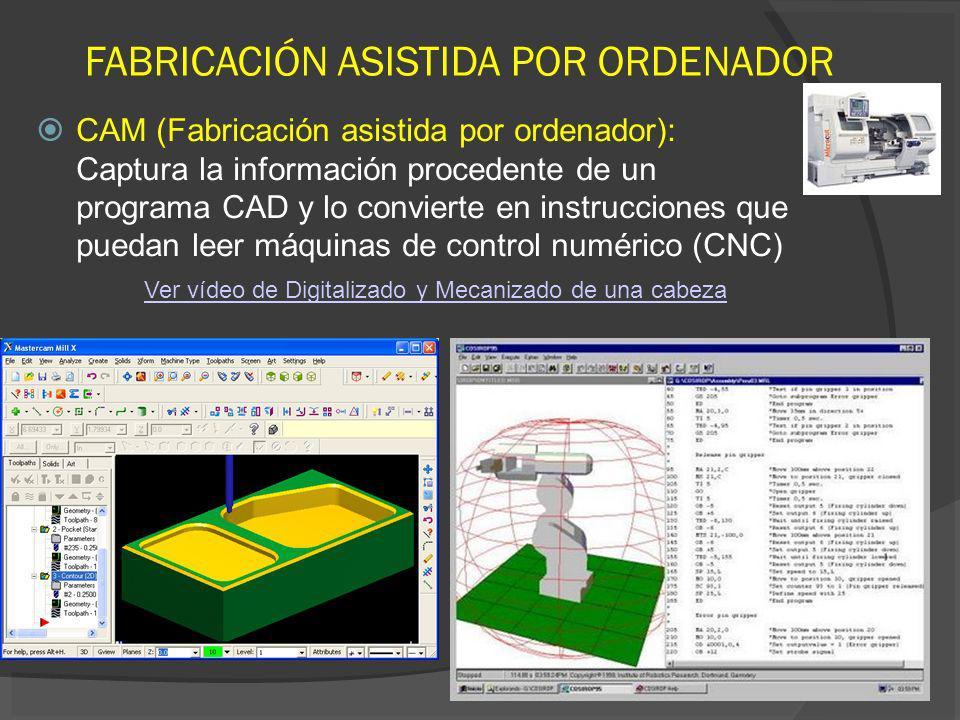 CAM (Fabricación asistida por ordenador): Captura la información procedente de un programa CAD y lo convierte en instrucciones que puedan leer máquina