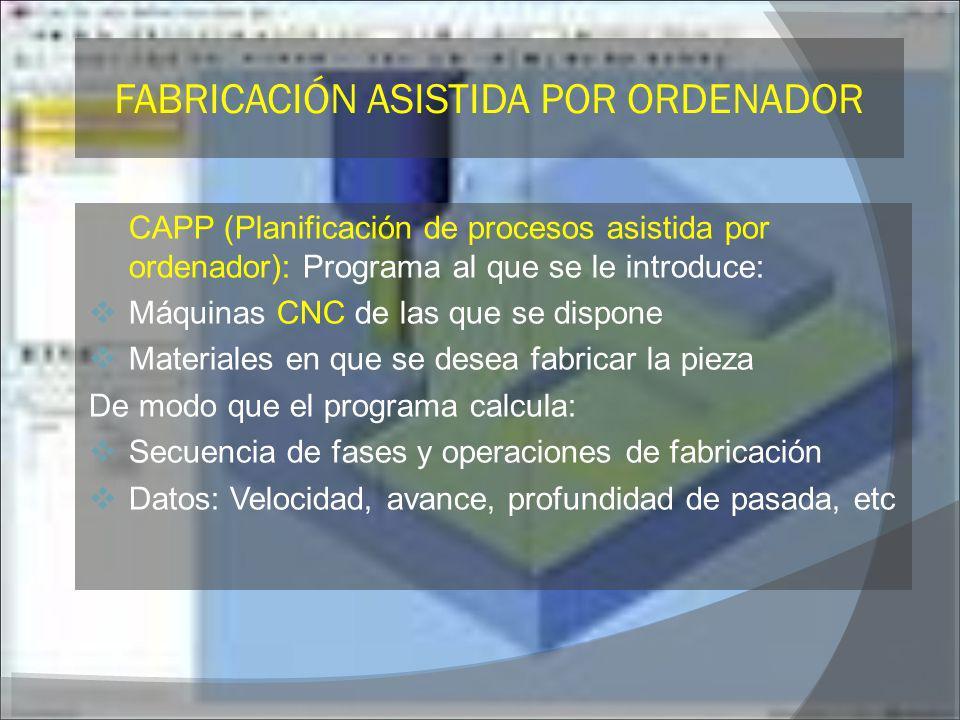CAPP (Planificación de procesos asistida por ordenador): Programa al que se le introduce: Máquinas CNC de las que se dispone Materiales en que se dese