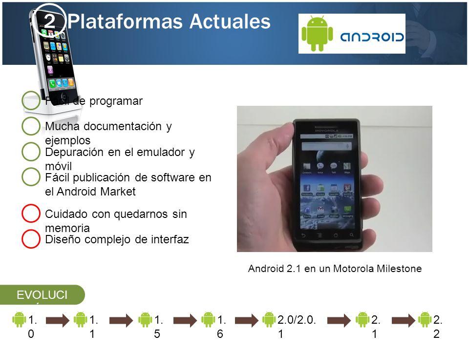 Plataformas Actuales 2 Mucha documentación y ejemplos Cuidado con quedarnos sin memoria Fácil de programar Depuración en el emulador y móvil Diseño co