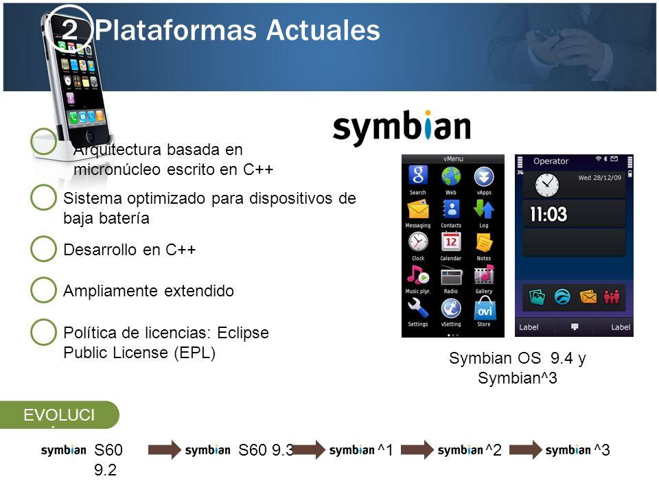Plataformas Actuales 2 S60 9.3^1S60 9.2 ^2^3 Sistema optimizado para dispositivos de baja batería Desarrollo en C++ Arquitectura basada en micronúcleo