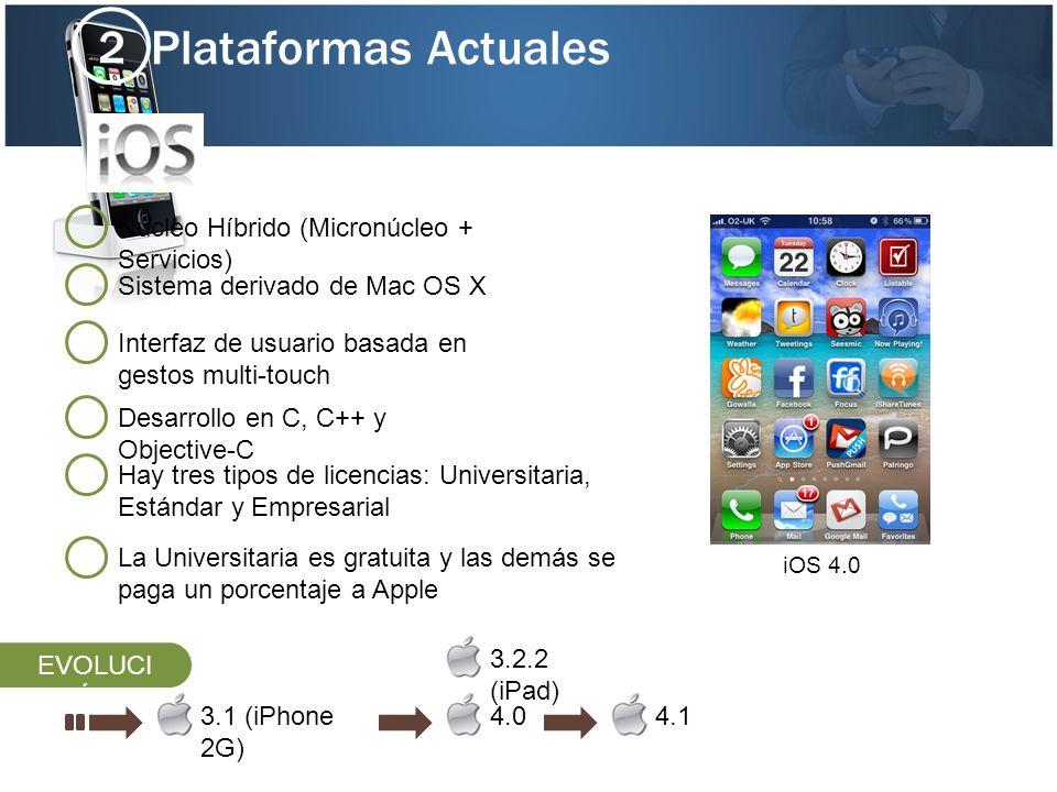 Plataformas Actuales 2 Interfaz de usuario basada en gestos multi-touch Desarrollo en C, C++ y Objective-C Sistema derivado de Mac OS X 3.1 (iPhone 2G