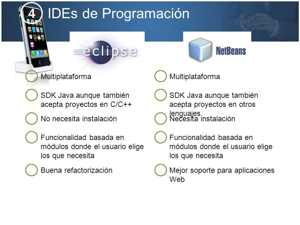 IDEs de Programación 4 Multiplataforma SDK Java aunque también acepta proyectos en C/C++ No necesita instalación Funcionalidad basada en módulos donde