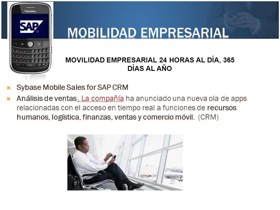 Sybase Mobile Sales for SAP CRM Análisis de ventas, La compañía ha anunciado una nueva ola de apps relacionadas con el acceso en tiempo real a funcion