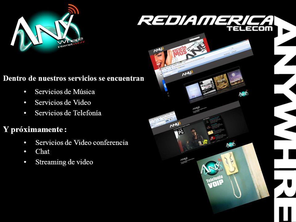 Dentro de nuestros servicios se encuentran: Servicios de Música Servicios de Video Servicios de Telefonía Y próximamente : Servicios de Video conferen