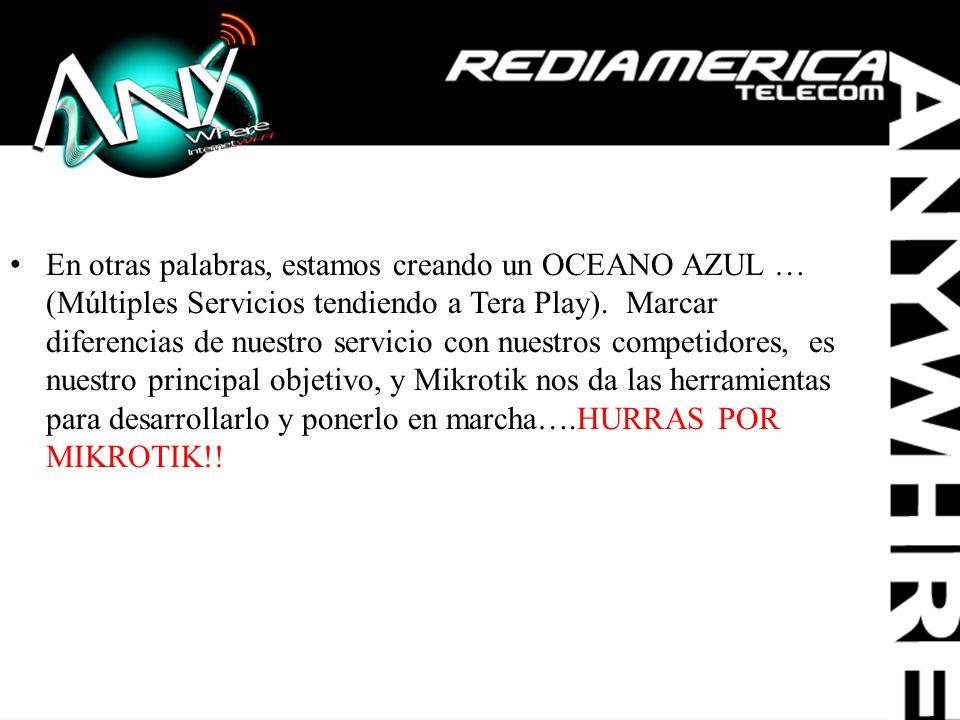 En otras palabras, estamos creando un OCEANO AZUL … (Múltiples Servicios tendiendo a Tera Play). Marcar diferencias de nuestro servicio con nuestros c